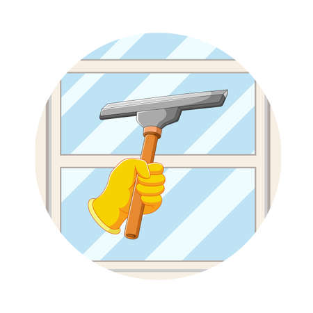 The illustration of the hand clean the windows with the window cleaner Illusztráció