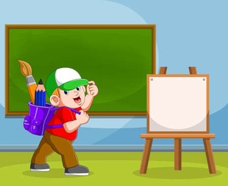 The illustration of the boy brings the art supplies in his purple bag