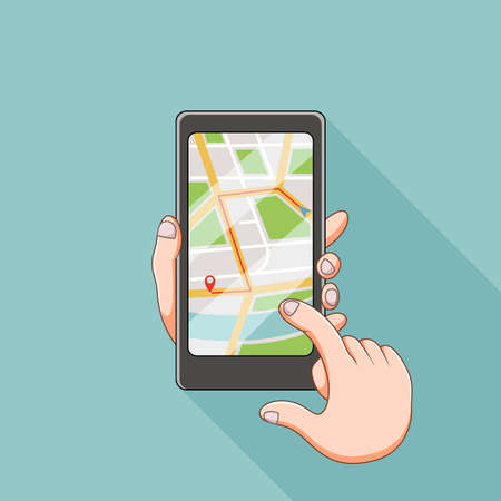 The illustration of the maps site in the smartphone Stock fotó - 155281529