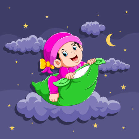 The illustration of the baby girl is using the sleepwear and holding the pillow
