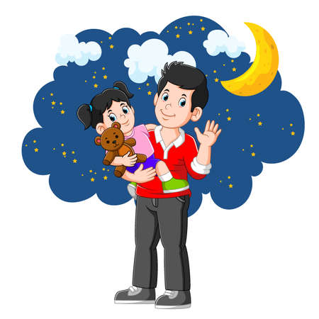 The cute girl is going to bed with his father in beautiful night
