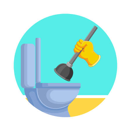 The illustration of the toilets cleans with the drain buster Stock fotó - 155281532