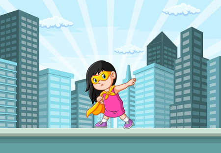The illustration of the super heroes girl and posing in the city near the building