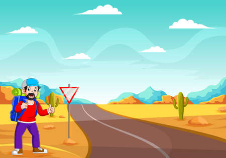 The illustration of the young boy are standing near the street to stop the car Ilustração