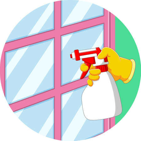 The illustration of the hand holds the spray to clean the window Illusztráció