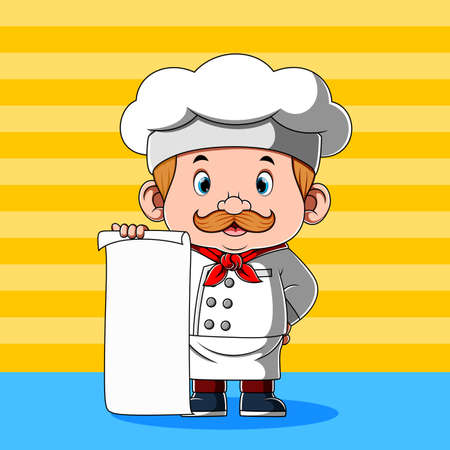 The animation of the chef is holding the blank paper for the menu Stock fotó - 156410790