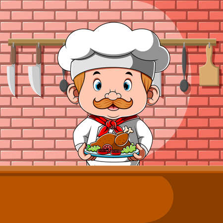 The illustration of the chef holding the chicken with the vegetables in the plate