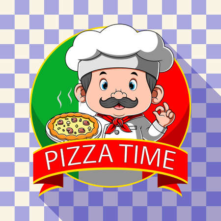 The illustration of the logo inspiration for pizza restaurant with the chef