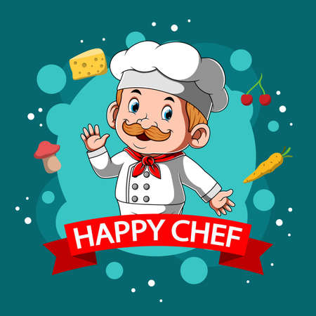 The illustration of the happy chafe with the white chef hat around the foods Stock fotó - 156410987