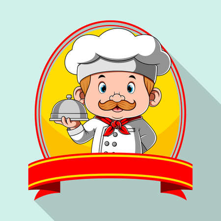 The illustration of the logo inspiration for the restaurant with the blank banner Illusztráció