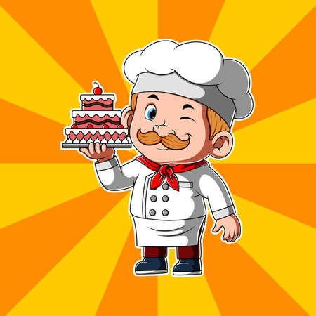 The illustration of the chef holding the beautiful cake with cherry on the top Illusztráció