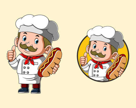 The illustration of the chef is holding the big hot dog for the logo restaurant Illusztráció