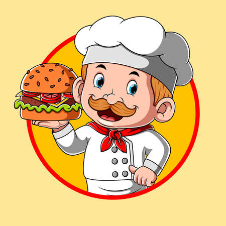 The illustration of the logo inspiration for the burger restaurant with the chef