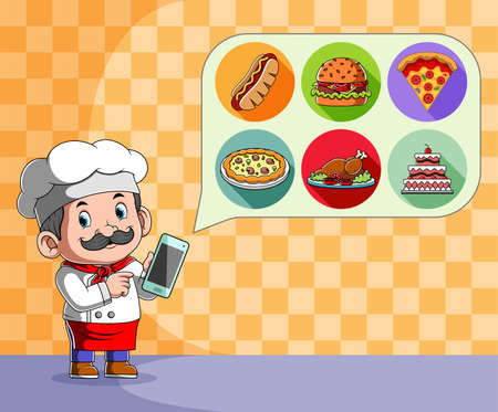 The illustration of the chef holding the hand phone for look the menu