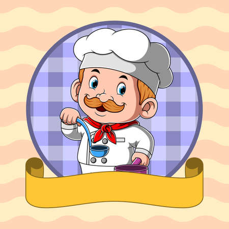 The animation of the chef holding the blue spoon soup with the blank yellow banner Stock fotó - 156411003