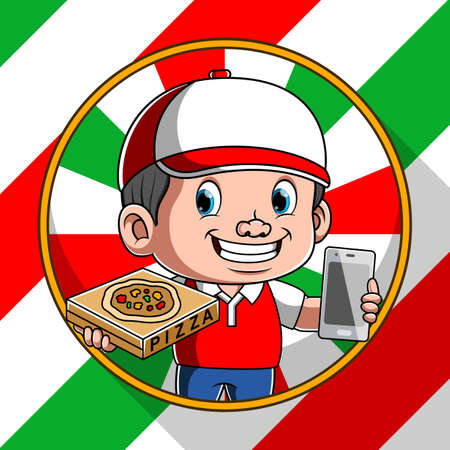 The illustration of the pizza delivery online with the smartphone in his hand Illusztráció