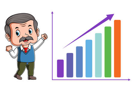 The illustration of the teacher happy because the increase the chart Stock fotó - 156411032