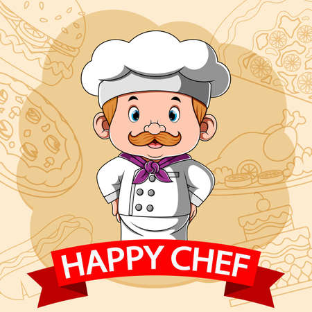 The animation of the happy chef with the illustration fast food background