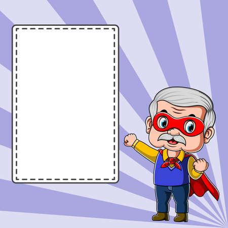 The illustration of the teacher using the superhero costume standing near the blank Illusztráció