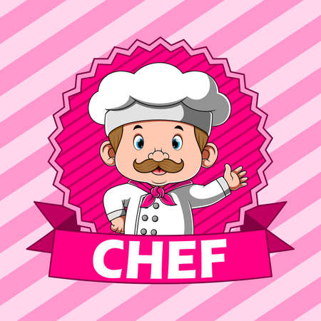 The illustration of the reward for the chef with the pink banner Stock fotó - 156410444