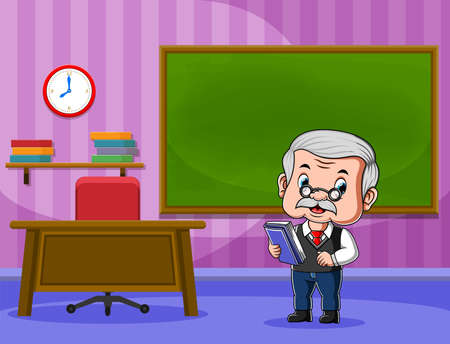 The animation of the teacher holding the book and teaching in front of the class Illusztráció