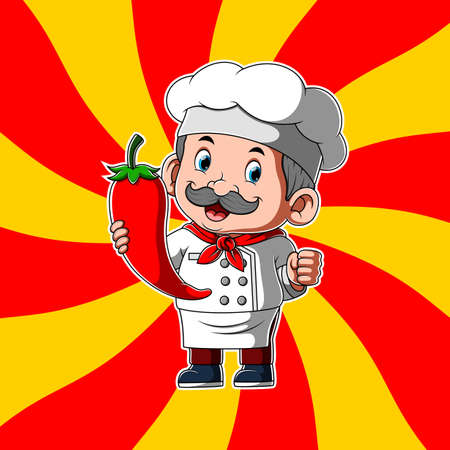 The animation of the old chef holding the big red chilly in his hands