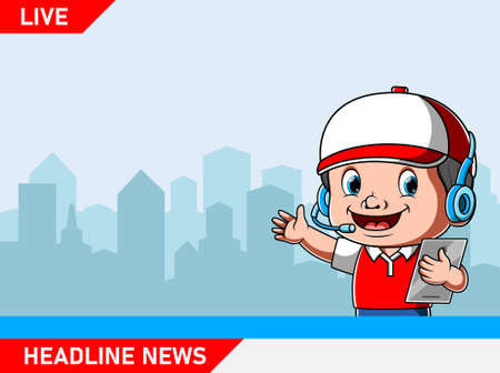 The illustration of the reporter holding the tab for the live news update