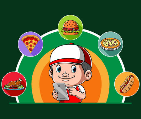 The illustration of the courier order the online delivery food for the costumer Illusztráció