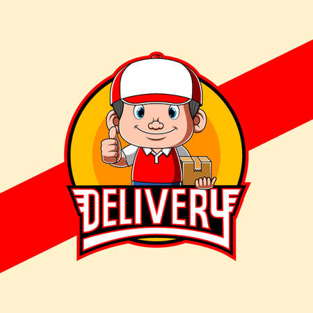 The animation of the logo delivery inspiration with the courier and his cap Stock fotó - 156747900