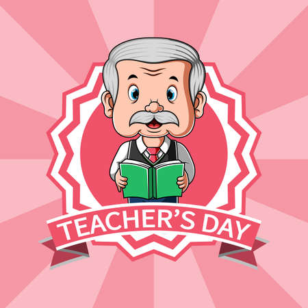 The animation for the reward of teacher day's with the pink banner Illusztráció