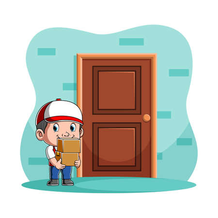 The illustration of the courier boy holding two boxes and standing near the costumer's door Stock fotó - 156747899
