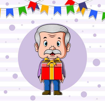The animation of the teacher holding the big box of the gift for the teacher day's Illusztráció