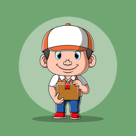 The animation of the courier with the white cap holding a box of package 版權商用圖片 - 156747904