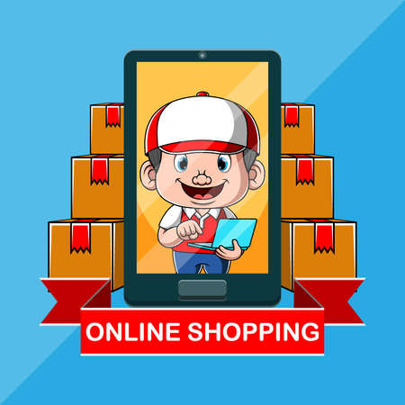 The illustration of the delivery online shopping mall with the smartphone