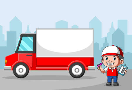 The animation of the delivery courier checking the package near the box car Stock fotó - 156410886