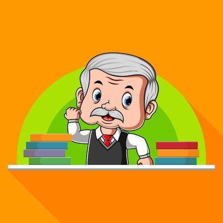The animation of the teacher standing at the back of the desk beside the books
