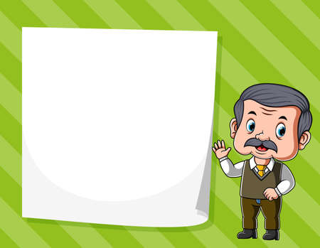 The illustration of the old man standing near the white blank paper