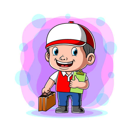The animation of the courier holding the paper bag for the costumer