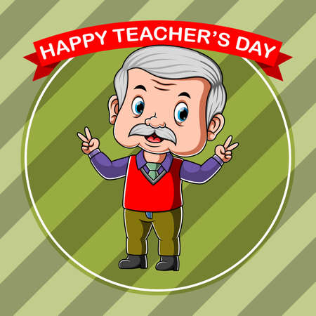 The illustration for the reward of the happy teacher day's with the red banner Stock fotó - 156410912