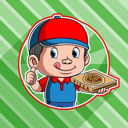 The animation of the delicious pizza courier delivery use the red and blue cap Illusztráció