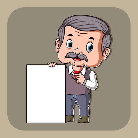 The illustration of the teacher holding the white blank paper Illusztráció