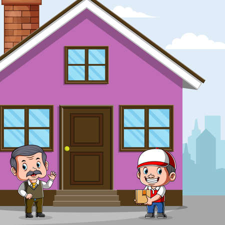 The animation of the courier delivery the package to the costumer's house
