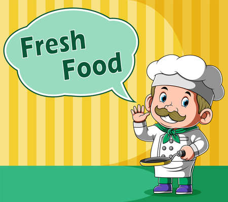 The animation of the chef say the fresh food in the bubble and hold the pan