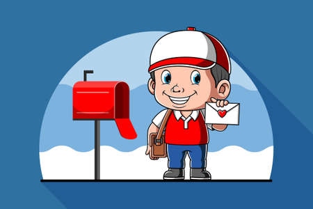 The animation of the Mr. postman holding the mail in his hand Stock fotó - 156410222