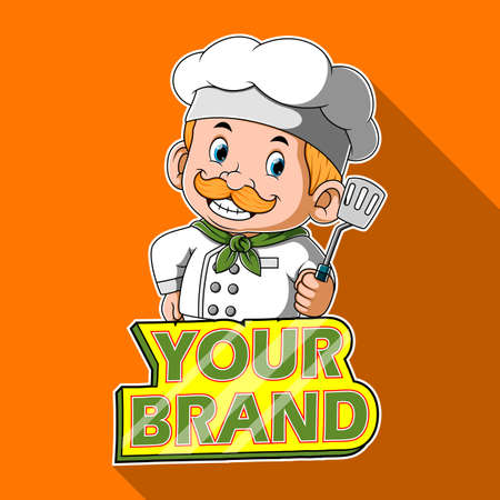 The illustration of the chef holding the spatula with the banner for the brand Stock fotó - 156747903