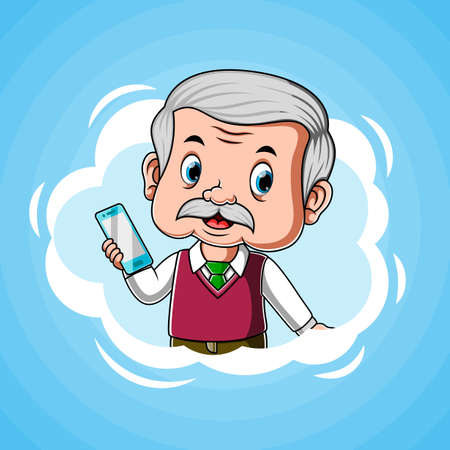 The animation of the teacher with the smartphone on his hand Stock fotó - 156410524