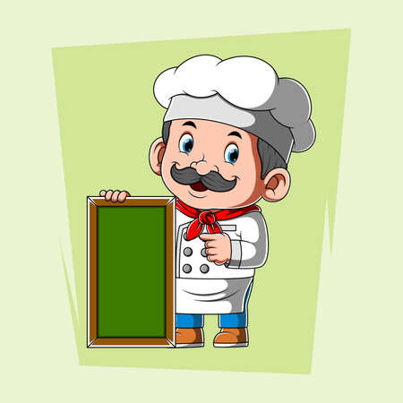 The illustration of the chef with the white apron holding the green blank board