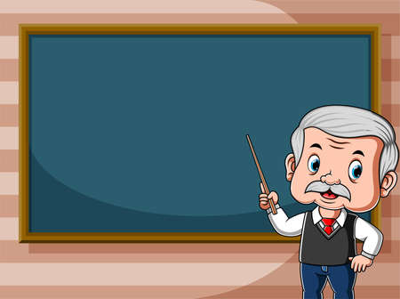The animation of the teacher is teaching in front of the class beside the black board
