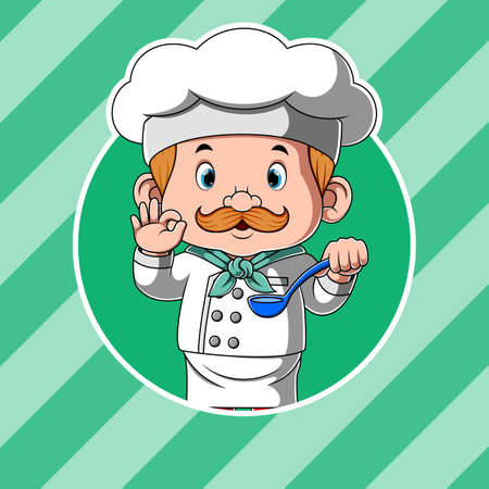 The animation of the chef holding the spoon soup and for the delicious food Illusztráció