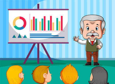 The animation of the teacher presentation the graphic in front of the student Illusztráció